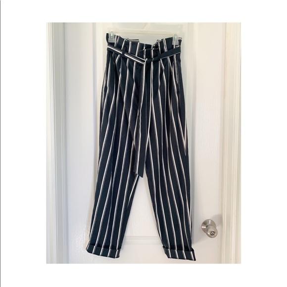 H&M striped paperbag pants